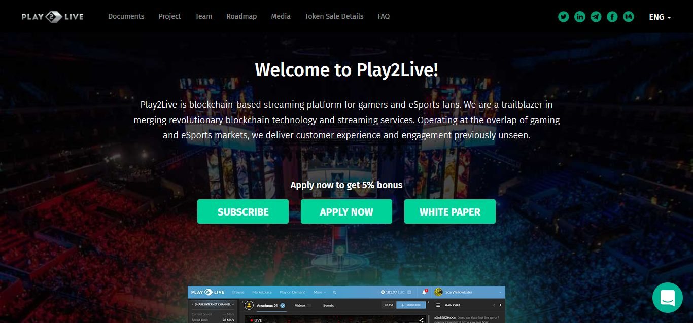 The Play2Live website