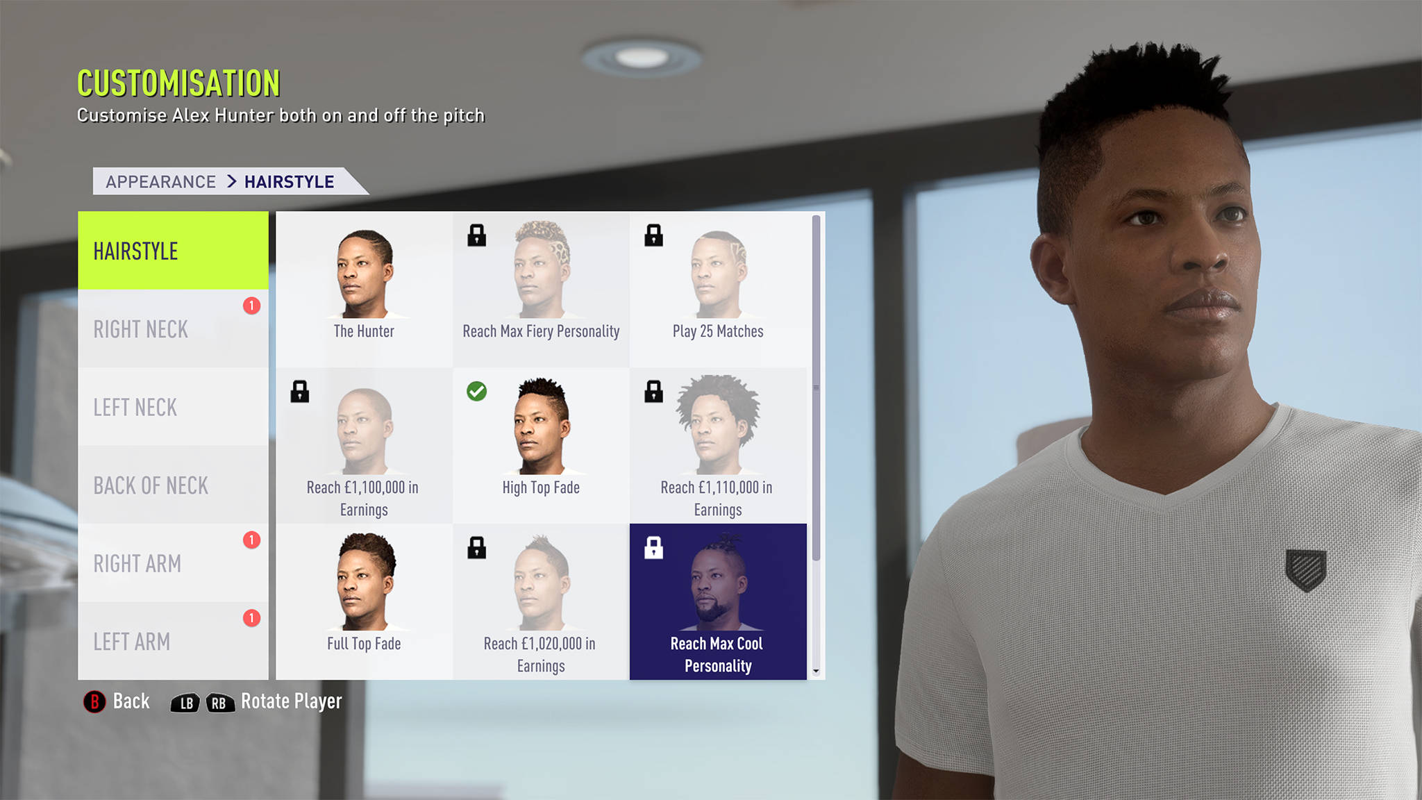 Alex Hunter's choices will impact his looks